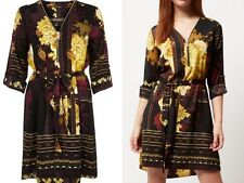 RIVER ISLAND black mustard floral silk feel boho scarf print dress size 10