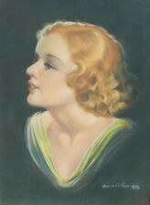 ORIGINAL VINTAGE 1938 DECO PAINTING REDHEAD PINUP ART GIRL WOMAN FEMALE PORTRAIT