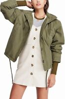 BDG Women's Jacket Olive Green Size Small S Faux-Fur Lined Hooded $118 #238