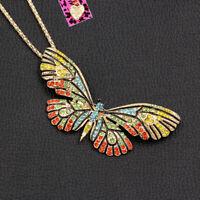 Betsey Johnson Enamel Crystal Cute Butterfly Pendant Chain Necklace/Brooch Pin