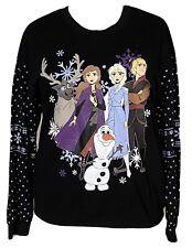 Frozen 2 Sweatshirt Elsa Olaf Anna Kristoff Black Fair Isle Sleeve LED Light XXL