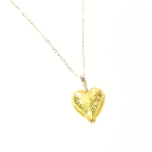 Murano Glass Clear Gold Heart Gold Filled Pendant Necklace