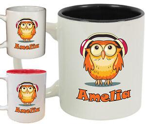Personalised Owl Name Novelty Mug / Cup   Cute animal coffee tea   6 Designs