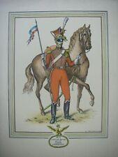 1950 ANCIENNE gravure signée DERVEAUX 1815 LANCIER ROUGE DE LA GARDE IMPERIALE
