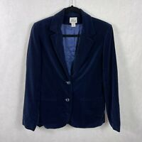 Vintage JBJ Navy Blue Velvet 2 Button Blazer Womens Size 10 Lined