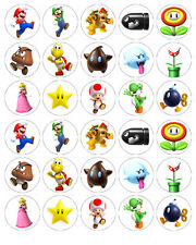 SUPER MARIO EDIBLE WAFER CUPCAKE FAIRY CAKE TOPPERS DECORATIONS x 30