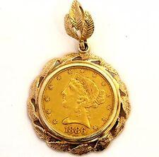 14k yellow gold $5 five dollar 1886 US Liberty San Fransisco Coin Pendant 12.8g