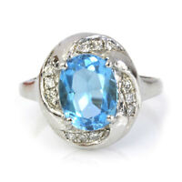 2.5 ctw Natural Blue Topaz & Diamond Solid 14k White Gold Oval Cocktail Ring