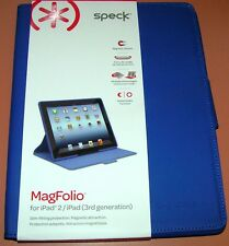 Speck MagFolio for iPad 2/iPad 3rd Gen, Blue Leather Cover, magnetic closure NEW