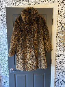 J Crew JCrew Faux Fur Leopard Print Coat Spotted G9553 Jacket Large