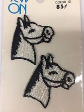 Vtg Horse Head Patch Applique Pony Equine Riding Embroidered Crafting Sewing