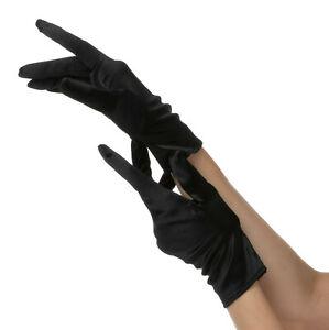 LADIES SHORT BLACK GLOVES HALLOWEEN FANCY DRESS ONE SIZE CLOWN ROBBER COSTUME UK