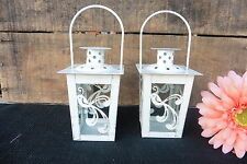 White Gold Accents Mini Metal & Glass Lantern Bird  Tea-Light Candle Holder NEW