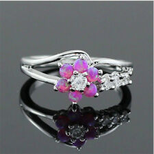 Exquisite Fire Opal Ring Silver White Blue Flower Lady Fashion Jewelry Size 6-10