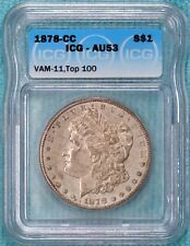 1878-CC AU-53 VAM-11 Top-100 Morgan Silver Dollar Carson City Almost Unc