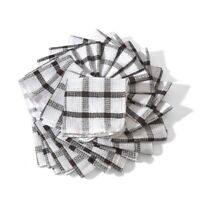 White and Brown Cotton Checkered Pattern Kitchen Towels Dish Cloth Set of 24