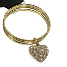 New 3 Bangle Bracelet with Crystal Heart Charm Gold Women