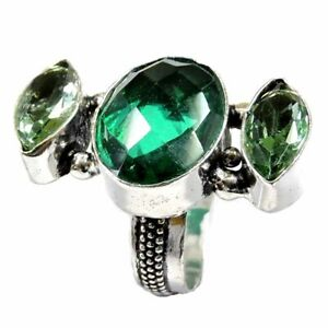 30.70Cts Faceted Green Topaz Gemstone Silver Overlay Handmade Ring Size 7