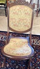 Antique Victorian Dark Wood Folding Rocking Chair Tapestry Seat & Back