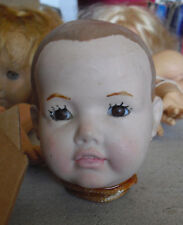 "Vintage 1984 Porcelain Artist Kathryn White Signed Boy Doll Head 4"" Tall"