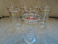 "Vintage set of 8 drinking glasses with gold trim 5"" tall"