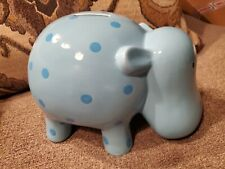 Light Blue Polka Dot Ceramic Hippo Hippopotamus Bank