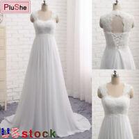 Womens Sleeveless Lace Chiffon Beach Wedding Dress Bridal Gown Plus Size US6-20W