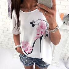 Damen Freizeit Lose Blume Sommer Kurzarm T Shirt Hemd Übergroß Tunika Oberteil