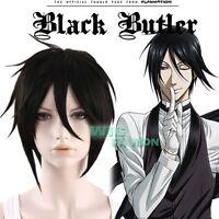 BLACK BUTLER Sebastian Michaelis Short Black Anime Cosplay Hair Wig