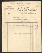 """PARIS (XVIII°) TOILES & TEINTURE pour CHAUSSURES & CASQUETTES """"R. MALPAS"""" 1922"""