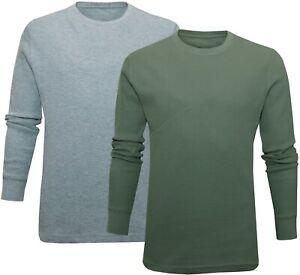 Mens Crew Neck Top Slim Fit Waffle Knit Plain Long Sleeve T-shirt ExStore XS-2XL