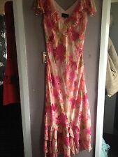 Boutique Pink Multi Print Chiffon Ruffle Neckline/hem Bias Cut Midi Dress Sze 10