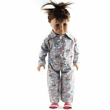 Dog Printed Pajamas PJs Sleepwear Set Doll Clothes Fits 18 Inch American Girl UK