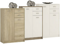 Crescita Tall 2 Door 2 Drawer Cupboard in Oak, White or Canyon Living Cabinet