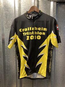 Mens Crailsheim Triathlon 2010 Black Yellow White Cycling Top Jersey Size 2 XL