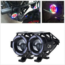 1 Pair 125W CREE U7 LED Motorcycle Headlight Spot Fog Light Projector Angel Eyes