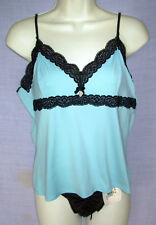 New sz L French Kitty Camisole Warner's Thong Panties Turquoise Black L