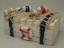 Seaside nautico in legno shabby chic bagno rustico Ciondolo Box NUOVO