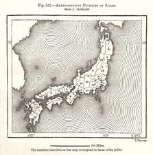 Administrative Divisions of Japan. Sketch map 1885 old antique plan chart