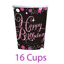 Official Party Product Amscan Sparkling Pink Happy Birthday 9oz Cups 8 Pack