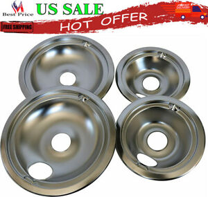 GE Hotpoint Chrome Stove Drip Pans Electric Burner Covers 4 Top Replacement Set