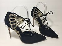 Ted Baker Mallai Black Nubuck Leather Lace Up D'Orsay Pump Stiletto Heels 39 8.5