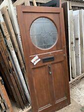 RECLAIMED ORIGINAL OLD FRONT DOOR Leaded Glass - (Art Deco / Vintage / Retro)