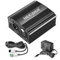 Neewer 1-Channel 48V Phantom Power Supply w/ Adapter&XLR Cable f Music Recording