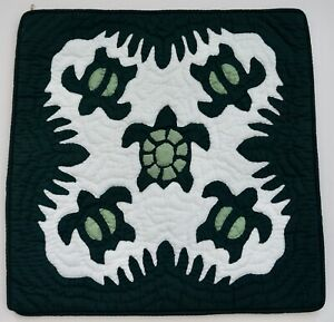 2 Hawaiian quilt handmade hand quilted/appliquéd cushions pillow covers D.GREEN