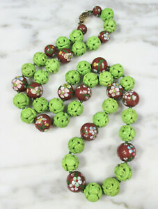 CHINESE SILVER CARVED GREEN TURQUOISE LIKE DRAGON SHOU BEAD CLOISONNE NECKLACE