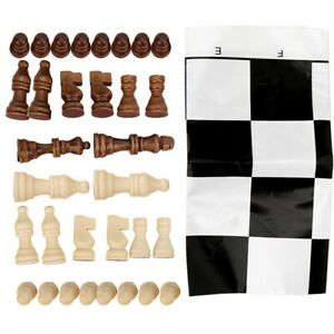 Wooden International Chess Game Set Wood Pieces With Plastic Chessboard Gif