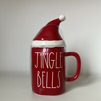 New Rae Dunn Red Jingle Bells Mug W/ Santa Hat Topper - Christmas 2020