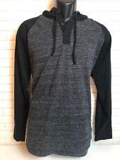 O'Neill Oneil The Gulf Hoodie Shirt Henley Raglan Black Mens XL MSRP $49
