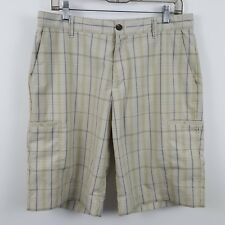 Adidas Men's Light Brown Tan Plaid Check Athletic Golf Casual Shorts Size 32